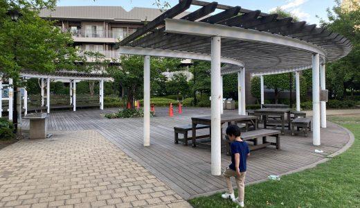 走って数十秒の距離にある晴海第一公園(ふれあいの森)と晴海第二公園(なかよしひろば)
