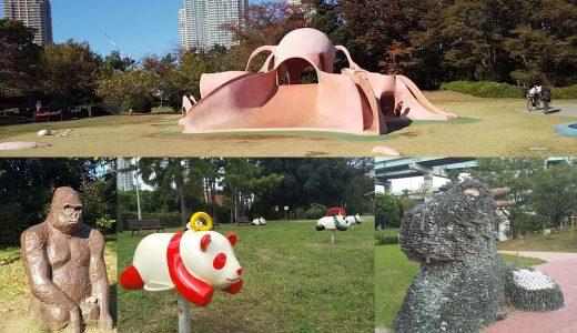 辰巳の森緑道公園|巨大なタコやパンダの遊具に大興奮。豊洲の隣に都心の穴場!自然の中で駆け回ろう!